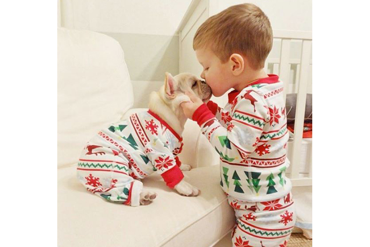 baby and puppy matching pajamas