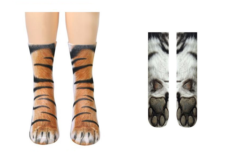 socks that look like tiger paws
