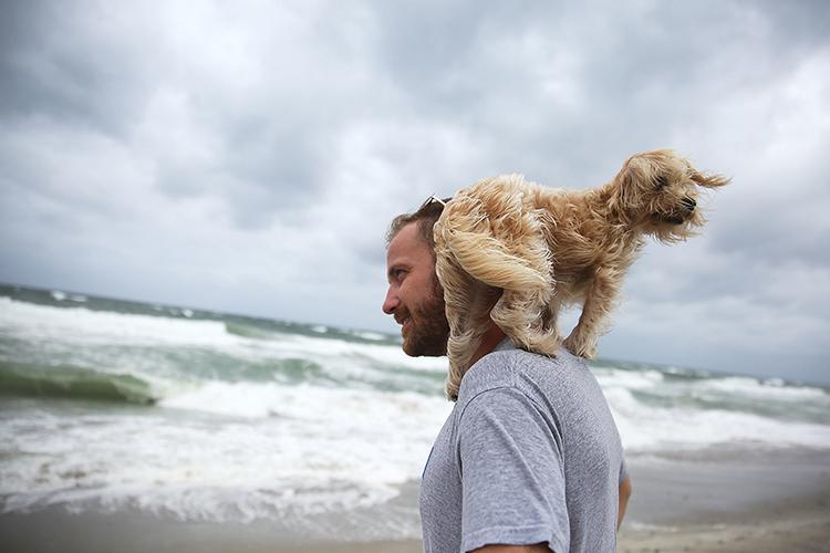 man and dog at beach before hurricane